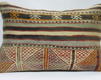 Cushion Cover Embroidery Pillow,Vintage Turkish Kilim Pillow, 16x24 Kilim Pillow Lumbar Pillow Vegetable Dyes Pale Red Color,Sofa Pillow 738