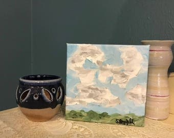 "Original Handpainted Landscape Painting on Mini 5""x5"" Gallery Wrapped Canvas"