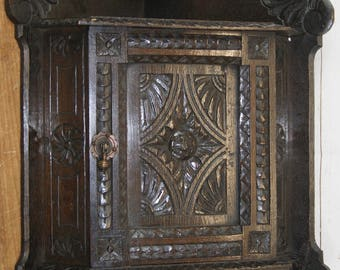 Antique, Victorian, 19th Century Renaissance Revival Style, Carved Oak Corner Wall Mounted Cupboard or Cabinet