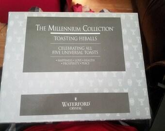 "New  Waterford Crystal Millenniumm 5(Five ) Toasts  Set of 2 HiBall Glasses 6"" NIB"