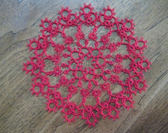 New Handmade 9 Inch Red Tatted Lace Doily