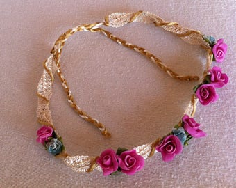 Pink and Blue Rose Flower Crown