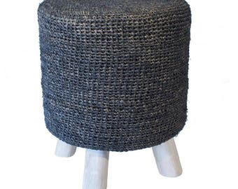 Rafia foot stool natural