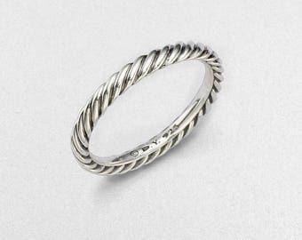 pre-owned david yurman sterling silver cable band ring size 7