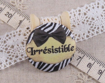 x 1 38mm fabric button irresistible ref A13