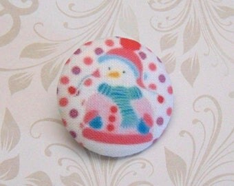 x 1 button 38mm fabric snowman snow pea pink ref A27