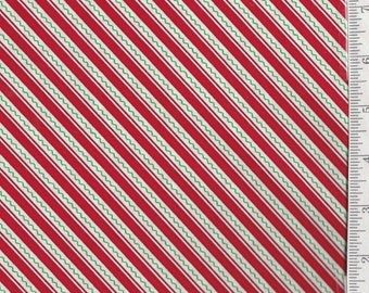 SALE** Trimming the Tree - Per Yd - Quilting Treasures - Red Diagonal Stripe