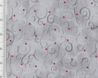 SALE** Holiday Elegance - Per Yd - Quilting Treasures - Red dots on swirls of Silver