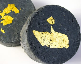 Activated Charcoal All Natural Soap | Adorned with Gold | Vegan Soap | Hand Soap | Savon | Gold Accents | All Natural Soap | Artisan Soap