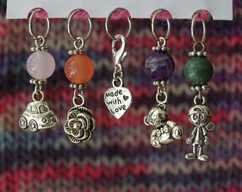 Brand-mesh with semi-precious stones, can be converted into brand row / Stitch Markers with semi-precious stones