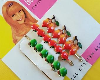 Vintage fruit hair slides set
