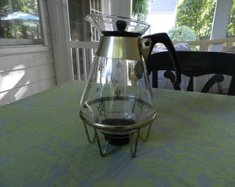 Pyrex Snowflake Coffee Pot with Stand