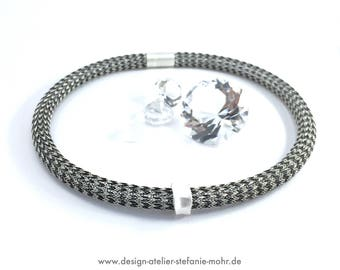 hand made double wire crochet necklace in black and silver pattern with magnetic clasp
