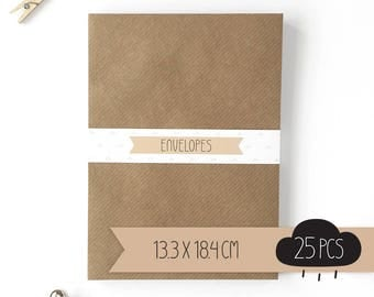 Envelope / kraft brown / 13,3 x 18,4 cm / 25 pieces