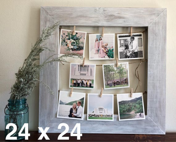 Rustic Clothespin Picture Frame Photo Display Wedding