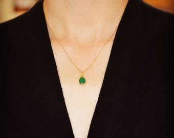 Teardrop Bezeled Gemstone Necklace, Emerald Necklace, Green Onyx Necklace, Tranquility and Calmness Necklace