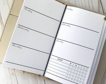 Traveler's Notebook | Week On Two Pages | WO2P | Printed Personal TN Planner Inserts|