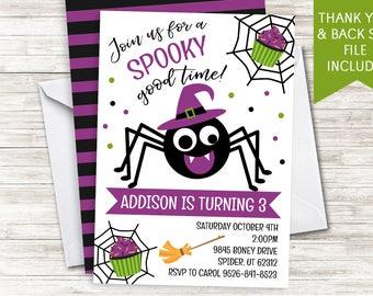 Halloween Girls Birthday Invite Invitation Spider Witch Digital Party 5x7 Personalized Spiderwebs Purple Green