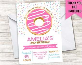 Donut Birthday Invite Invitation Digital Party 5x7 Donuts Doughnuts Sprinkles Kids ANY AGE Girls Pink