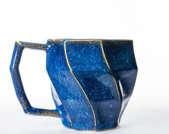 Geometric Ceramic Planter 18 oz. //  Unique Succulent Pot // Starry Night