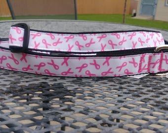 Breast cancer awareness dog collar