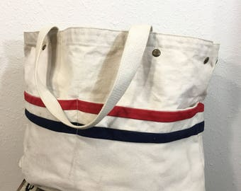 vintage cotton canvas tote bag made in usa