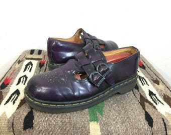 90's vintage dr martenes purple leather sandal made in england size 6
