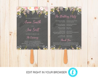 Chalkboard Flower Wedding Program,Printable Ceremony Template, Wedding Program Printable, Instant Download,Fully Editable