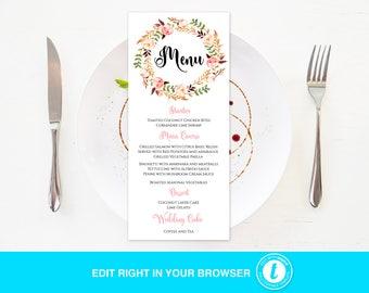 Flower wedding menu, Wedding Menu Templates, Editable Wedding Menu, Instant Download, DIY Wedding,Fully Editable
