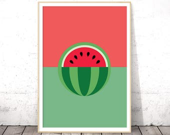 Watermelon Print, Fruit Print, Kitchen Wall Art, Fruit Poster, Kitchen Art Print, Kitchen Poster, Digital Download Art