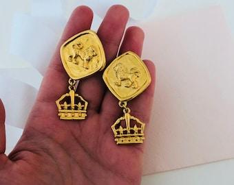 Lion Earrings - Lion Jewelry - Lion Jewellery - Lions - Earrings - Clip on Earrings - Big Chunky Jewelry - Big Chunky Jewellery - 1980s