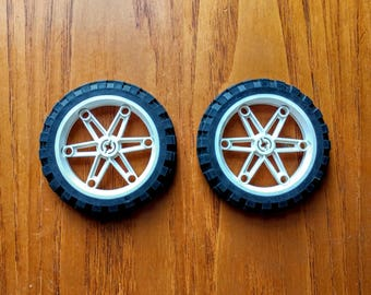 Lot of 2 Lego Motorcycle Black Tires 81.6 x 15 and White Wheels 61.6mm D. x 13.6mm, Excellent Condition, 2902 and 2903