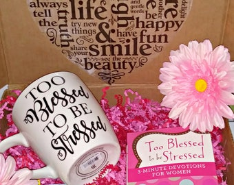 Too Blessed to be stressed Mug-Christian Gifts-Encouragement Gifts-Coffee Mug-Devotional-Inspirational Mug-Gift for Her-Tea Mug-Quote Mug