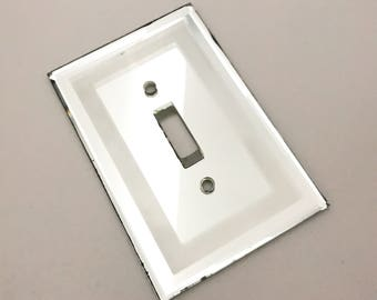 Vintage mirror Switch Wall Plate cover, mirrored Glass, salvaged