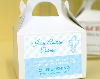 Personalised Christening / Baptism Cup Cake Boxes - Blue Check