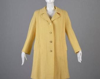 SALE Medium 1960s Coat 60s Wool Coat Pastel Yellow Vintage Wool Tweed Winter Coat A Line Trapeze Swing Casual Day Coat Mid Century