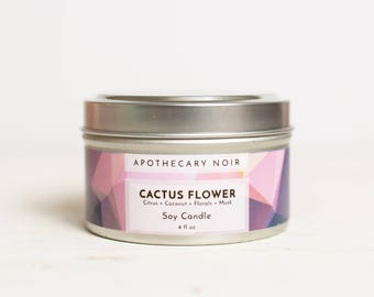 CACTUS FLOWER - Scented Soy Candle in Travel Tin - Citrus + Coconut + Florals + Musk