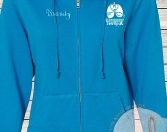 Women's Zip French Terry Hoodie RT Respiratory Therapist Therapy Sweatshirt Full Zip Jacket