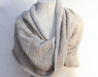 Beige christmas gift / Bridesmaid shawl / Mohair shoulder warmer / Knit oversized scarf / Nursing shawl - Travertine