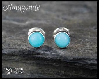 Natural amazonite gemstone earrings, 5mm cabochon, sterling silver, posts earrings, studs, birthstone, second earrings, 101
