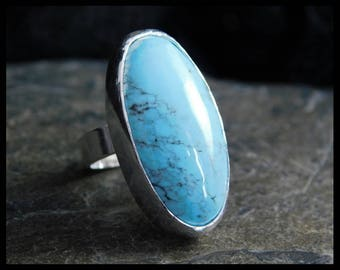 Kingman turquoise adjustable ring, sterling silver 0.925, size US 5 and +, native style, Arizona turquoise, 229