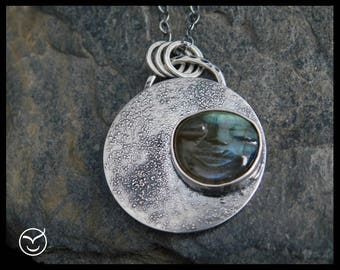 Man in the moon - Labradorite pendant, sterling silver 0.925, chain necklace. Love you to the moon. Statement jewelry. Handmade. 248