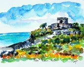 Print Tulum Mayan Ruins Cancun Mexico. Urban Sketch style Ink and watercolor painting. Created by Liz Vargas