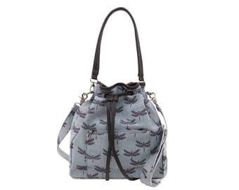 Denim Bucket Bag - Dragonfly Butterfly Ladies purse - Vegan shoulder bag - Teen girl handbag - Faux leather bag - Canvas drawstring bag