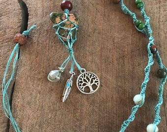 Unakite Crystal Necklace with Charms/Healing Crystal/Gypsy Wear
