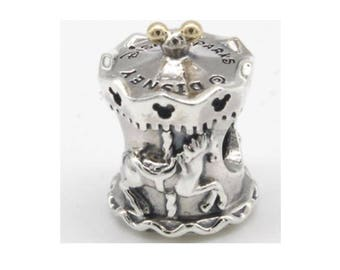 DISNEY PARKS CARAOUSEL Charm with 14K / New / s925 Sterling Silver / 14k Gold / Threaded / Fully Stamped