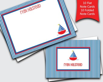 Sailboat Thank You Cards / Personalized Notecard Set for Boys / Boat Stationery / Transportation Stationary for Kids (Item #1702-033FF)