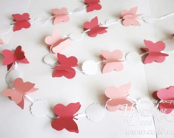 3D butterfly garland pink nursery decor - butterfly party decor-girl room decor-cake smash garland-Butterfly Bunting-butterfly pink wedding