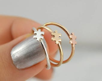 Gold Puzzle ring, Puzzle jewelry, Dainty cute ring, Puzzle piece jewelry, Puzzle piece ring, Autism Awareness, Tiny Puzzle ring, Gold ring