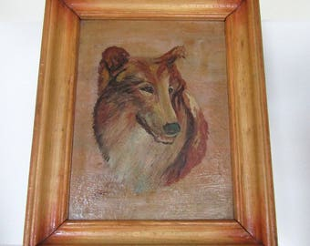 Framed Collie/Sheltie Painting by E. Cozens